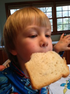 Boy eating whole wheat bread