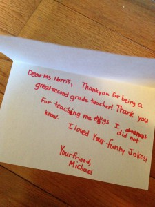 Thank you note written by a child, thank teachers