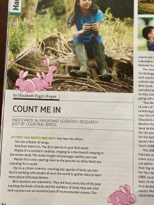 photo of magazine article about great backyard bird count